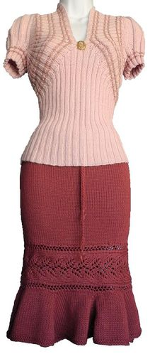 Vintage Pullover - pattern available on White Lies Designs. The skirt pattern is -Shana Trumpet Skirt available from the same site 1940s Fashion, Vintage Fashion, Vintage Dresses, Vintage Outfits, Trumpet Skirt, Jumper, Knit Skirt, Vintage Knitting, Girls Sweaters