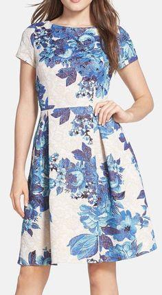 Floral Matelassé Fit & Flare Dress