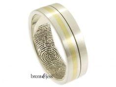Offset 18k Inlay Modern Line Wedding ring with Fingerprint - by Brent & Jess Custom Handmade Fingerprint Wedding Rings and Jewelry