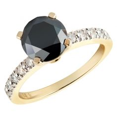 Beautiful black diamond solitaire 14k gold ring