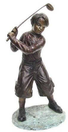 Attractive Bronze Boy Playing Golf Statue