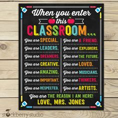 Teacher Signs Discover When You Enter This Classroom Sign - Personalized Teacher Sign - Classroom Decor - Motivational Poster - Classroom Rules - Gift for Teachers Classroom Signs, Classroom Decor, Music Classroom, School Classroom, Classroom Organization, Classroom Management, Classroom Hacks, Superhero Classroom, Classroom Layout