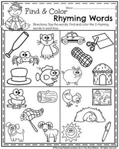 Back to School Preschool Worksheets | Rhyming words, Worksheets ...