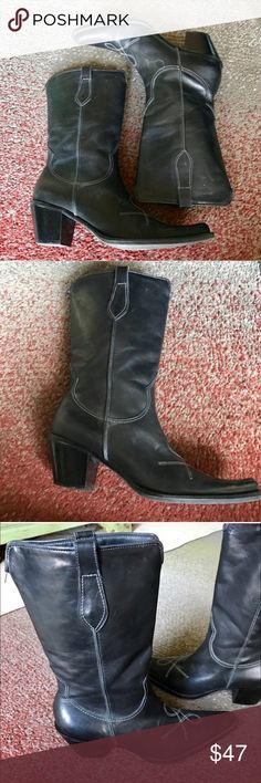 "BLACK cowboy BOOTS LEATHER western SZ 8.5 heel Awesome FRANCO SARTO black leather western cowboy BOOTS! Quality made in Brazil, size 8.5. Contrasting stitching, pull up style, 2.5"" heel. Total boot height from sold to top is 12.5. Low/mid calf height. 13.5"" circumference. J13 Franco Sarto Shoes Heeled Boots"