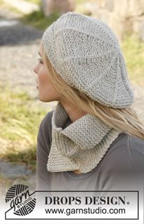 "Knitted DROPS hat and neck warmer in garter st and double sts in ""Nepal"". ~ DROPS Design(#4 weight yarn)"