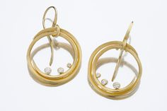 Spiral Earrings with Diamonds by Barbara Heinrich