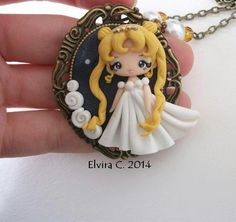 Polymer Clay Blonde Girl Pendant