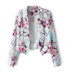 Floral Print Tuxedo Blazer With Dropped Hem ($28) found on Polyvore featuring outerwear, jackets, blazers, tops, abrigos, tuxedo jacket, floral print jacket, tux jacket, floral print blazer and flower print jacket