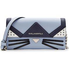 Karl Lagerfeld Cat Crossbody Mini Shoulder Bag ($175) ❤ liked on Polyvore featuring bags, handbags, shoulder bags, clutches, bolsos, purses, сумки, blue, cross-body handbag and shoulder handbags