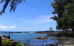 Richardson's beach park is the black sand beach closest to Hilo on the Big Island. Good snorkeling and swimming with tide pools, calm water and picnic area