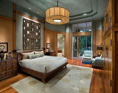 Exquisite master bedroom with an Asian theme