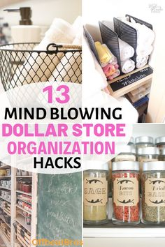 13 Creative Dollar Store Organization Hacks You'll Love Need an organized home on budget. These dollar store organization ides will help you get an organized home using dollar store items on a budget. Check out these dollar store organization ideas today! Organisation Hacks, Organizing Hacks, Pantry Organization, Organizing Your Home, Bathroom Organization, Organising, Bathroom Storage, Organization Ideas For The Home, Storage Ideas