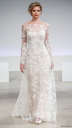anne barge fall 2017 bridal long sleeves illusion lace boat neck sweetheart neckline full embellishment modified a  line wedding dress keyhole back sweep train (eaton) mv