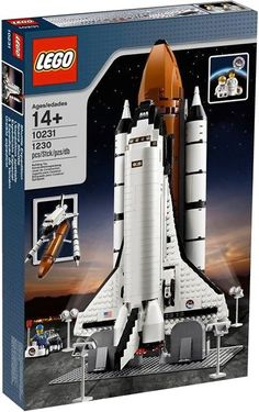 This is aSpace Shuttle Expedition Set 10231 New/Sealed) from LEGO. The box is factory sealed & the handles on the sides of the box have. Lego Shuttle, New Space Shuttle, Lego Sets, Van Lego, Lego City Police, Lego Craft, Lego Storage, Lego Architecture, Lego Creator