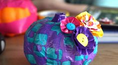 Tutorial: Duct Tape Pumpkin with Button Flowers (Dollar store crafts!)