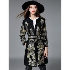 31848f34c8d 2017 Vintage Winter Coats Women Long Sleeve Floral Embroidery Jacket Lady  Cardigan Cashmere Coat W Sashes Plus Size Casaco