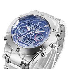3+Colour+Dual+Dial+Calendar+Alarm+3ATM+Waterproof+LCD+Chronograph+Mens+Sport+Quartz+Watch+Stainless+Steel+Band+Wrist+Watch+Cool+Watch+Unique+Watch+–+USD+$+18.99