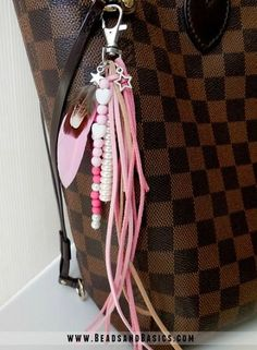 Brown and pink Keychain for your bag  -  DIY + Materials to make your own at   www.beadsandbasics.com