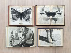 Spread across the opened pages of books pinned against the wall like insect specimens, artist Ekaterina Panikanova (previously) creates ink paintings that appear like fragments of memory. As with the content of old books, the subjects of each work appear from a different era, engaged in mysterious a
