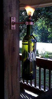 just like the table lamps at black pelican....use an old wine bottle, fill with lamp oil and place a wic at the top and light