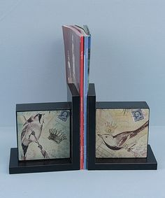 Take a look at this Wood Bird Bookends by Young's .. could be easily built with some pine and mod podge-ing some scrapbook paper on top.