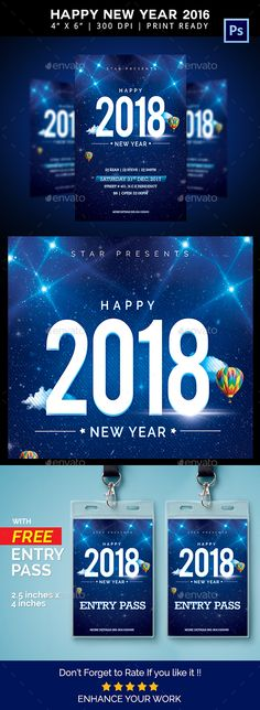 Happy 2018 #New Year #Flyer - Events Flyers