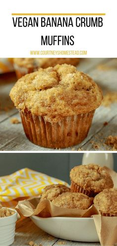 The Best Vegan Banana Crumb Muffins This easy, kid-friendly, vegan banana crumb muffins recipe is the absolute best. It's a great after school snack or easy breakfast. Vegan Dessert Recipes, Gourmet Recipes, Banana Recipes Vegan, Baking Desserts, Cake Baking, Cake Recipes, Vegan Banana Muffins, Vegan Breakfast Muffins, Cake