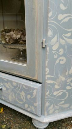 Shabby chic stencil detailing in a custom mixed Annie Sloan blue with old ochre stencilling, by Imperfectly Perfect xx