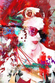 Giclee print embellie sur toile de haute qualité / original dessin illustration, peinture. mix média, encre & huile de pastel, acrylique,