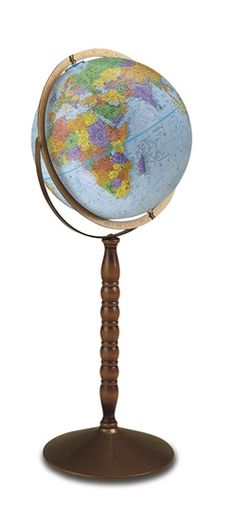 The Treasury 12-inch Blue Ocean Raised Relief Floor Standing World Globe by Replogle features a durable metal base, a gyro-matic full swing meridian and dynamic mapping, all while giving you the ability to convert it from a floor model to a desktop globe. #reploglefloorglobes #replogleilluminatedglobes #replogledesktopglobes #replogletabletopglobes