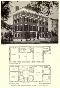 View and floor-plans of the Straight Residence, New York City