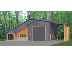This is a PDF Plan available for Instant bedroom, 2 bath home with 1 RV, bus, or big rig garage and RV port. It has a shop, microwave over range & stacked washer/dryer. Pole Barn House Plans, Garage House Plans, Pole Barn Homes, House Floor Plans, Shop House Plans, Barn Style House Plans, A Frame House Plans, Pole Barns, Barn Home Plans