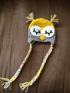 Newborn Crochet Owl Hat. Gray, white, yellow. $22.00, via Etsy.