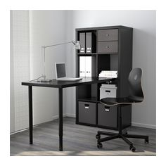 "only 100$!! great for dividing space too---- KALLAX Workstation - black-brown, 30 3/8x57 7/8 "" - IKEA"