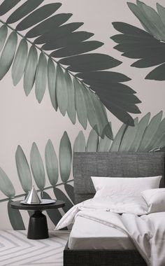 Beautiful Leaf Wallpaper for Walls - Leaf Wallpaper for Walls Awesome Cardboard Palm Wall Mural In 2019 Safari Theme Bedroom, Bedroom Themes, Bedroom Decor, Wall Decor, Bedroom Wallpaper Murals, Wallpaper Panels, Wall Wallpaper, Wallpaper Ideas, Bedroom Pictures