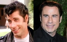 John Travolta then and now Actors Then And Now, Celebrities Then And Now, Famous Celebrities, Hollywood Celebrities, Celebs, John Travolta Now, Grease Actors, John Travolta Kelly Preston, Men Tv
