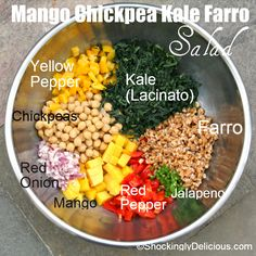 Mango Chickpea Kale Farro Salad - ◾1 (16- to 19-ounce) can chickpeas, drained and rinsed ◾1 cup cooked and cooled farro ◾1 cup diced firm-ripe mango ◾1/4 cup finely diced red onion ◾1/2 a red bell pepper, finely diced ◾1/2 a yellow bell pepper, finely diced ◾3 large lacinato kale leaves, stem removed and leaves sliced into fine ribbons (chiffonade cut) [aka Tuscan kale, dinosaur kale, black kale, Cavolo Nero] ◾1 jalapeno pepper, stemmed and seeded, finely minced - DRESSING - GARNISH -