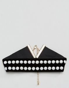 WAH LONDON x ASOS Faux Pearl Velvet Choker Necklace