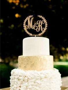 Custom Monogram Wedding Cake Topper Initial by HolidayCakeTopper                                                                                                                                                     More