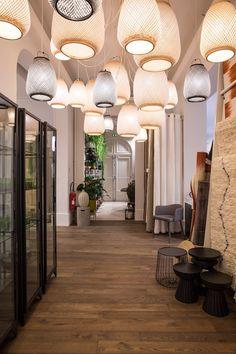 couloir accumulation luminaire suspension lampe suspendus beaucoup chemin de lampes decoration rotin