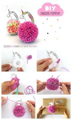 Unicorn Pom Pom. Unicorn pom pom keychain. Unicorn Pom Pom gift decoration. How to make a pom pom unicorn. Great back to school unicorn charm diy #unicorn #pompoms #backtoschool #zipperpull #charm