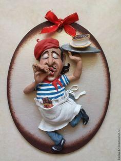 """Купить Панно """"Итальянский официант"""" из глины - люди, юмор, картина для кухни, панно на кухню"""
