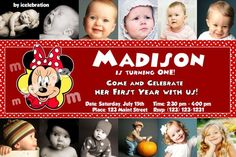 Possible 1st Birthday Invite? I like the pictures all around...