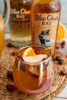 Breathe a CIDER of relief because we have a recipe that's easy as apple pie to share and delight your family with. This apple pie sangria cocktail recipe uses fresh ingredients. Put apple slices and cinnamon sticks into a punch bowl. Mix in the wine, rum, and apple cider. Garnish with an extra cinnamon stick. #bluechairbay #vanillarum #BCBHappyHour