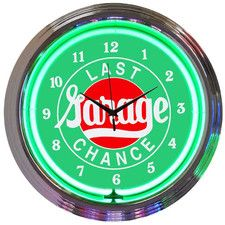 """Cars and Motorcycles 15"""" Last Chance Garage Wall Clock"""