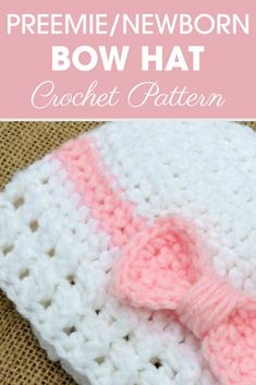 Crochet Beanie Ideas Doesn't this cute preemie/newborn bow hat look like a present? It has a cute bow that wraps around like on a present with lacy ribbing! Crochet Preemie Hats, Crochet Baby Hats Free Pattern, Crochet Baby Hat Patterns, Crochet Bows, Baby Girl Crochet, Crochet Baby Clothes, Booties Crochet, Crochet Baby Headbands, Cloth Patterns