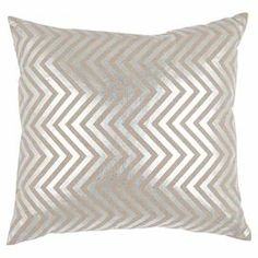 "Linen pillow with a silver chevron motif.   Product: Set of 2 pillowsConstruction Material: LinenColor: SilverFeatures: Inserts includedDimensions: 22"" x 22"" eachCleaning and Care: Dry clean recommended"