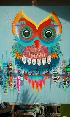 ©2014, 80x100cm, acryl en mixed media. Zie ook facebook Janet Edens art.