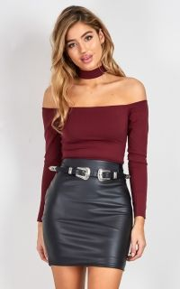 Addicted To You crop top in wine