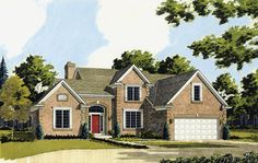A brick exterior  and abundance of windows give this three bedroom home an elegant look. The grand two story foyer entrance with staircase is open to the spacious two story great room with fireplace, built-in entertainment center, and high windows across the rear wall.   House Plan # 161038.